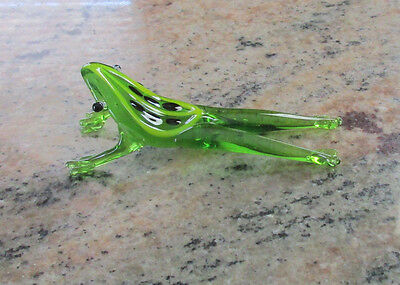 Hand Blown Green Art Glass Frog Figurine