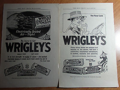 Lot Of 2 1919 Advertisements For Wrigleys Chewing Gum From Red Cross Magazine