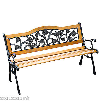 Outsunny Outdoor Patio Garden Park Bench Chair Wood Cast Iron w/ Flower Design