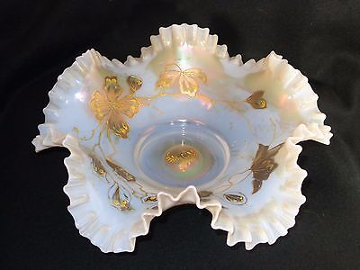 Victorian Art Glass Opal Iridescent Crimped Brides Basket