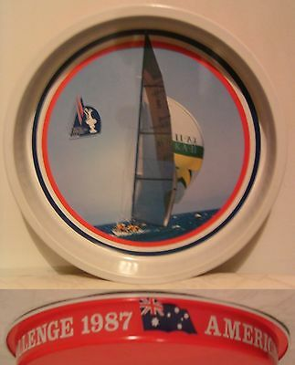 AMERICAS CUP CHALLENGE - TIN DRINKS SERVING TRAY - Souvenir 1987 - LOOK!