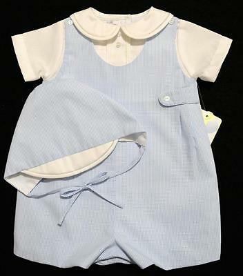 Petit Ami 3M Boys Blue Gingham Romper With Hat~Easter~Nwt's