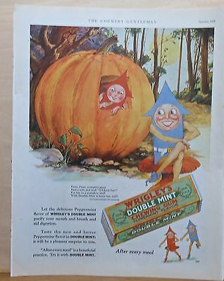 1928 magazine ad for Wrigley Double Mint Gum - Peter Pumpkin Eater & mascots