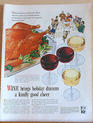 Vintage 1943 magazine ad for Wine - drink wine during holidays - WW2 home front