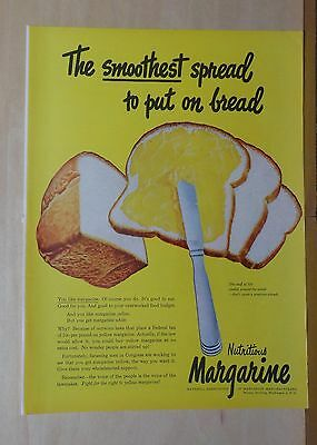 Vintage 1948 magazine ad for Margarine - Smoothest Spread put on Bread, colorful