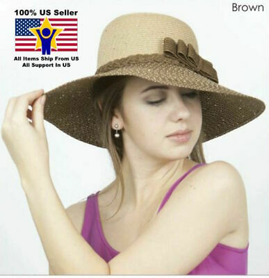52366afd043 Women s Crushable Brown Wide Brim Straw Floppy Hat SPF50 Glitter Small Bow  Paper