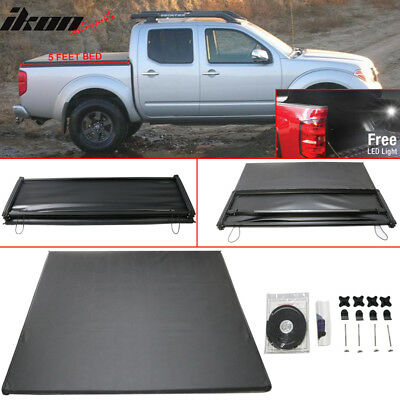 For 05-16 Nissan Frontier 5 Feet Short Bed Tri-Fold Soft Tonneau Cover Black