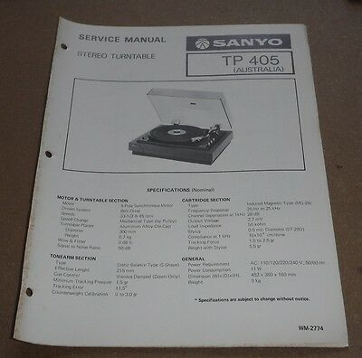 Sanyo Stereo Turntable TP405 Service Manual 1977 ( record player gramophone )