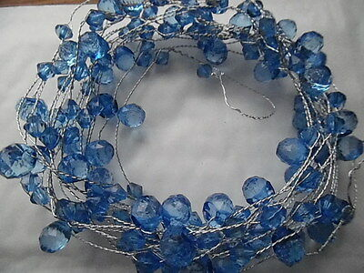 5 Mtr ROYAL BLUE ACRYLIC CRYSTAL GARLAND ON SILVER WIRE/WEDDING CHRISTMAS DECOR