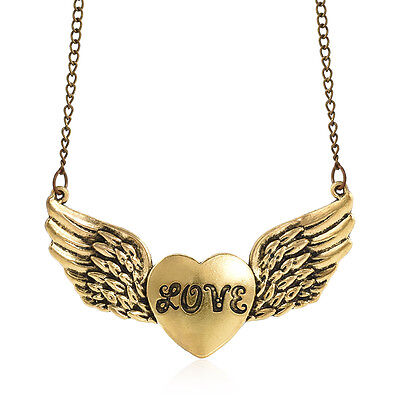 Vintage Antique Bronze Heart Love Wing Pendant Sweater Necklace Lover Fine Gift