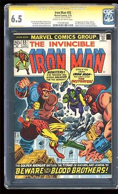 Marvel Comics  6.5 SIGNED STAN LEE IRON MAN #55 1st THANOS AVENGERS