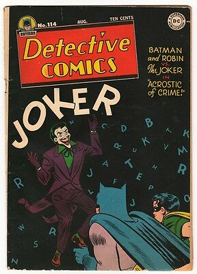 DC Comics DETECTIVE BATMAN 1946 Golden age #114 JOKER COVER AND STORY  VG