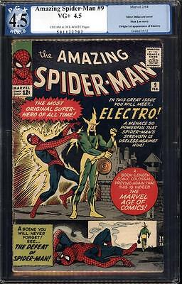 MARVEL Comics SPIDERMAN spider-man #9 1964 1ST appearance ELECTRO 4.5 PGX CGC