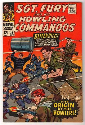 MARVEL Comics SGT FURY (nick) Captain America app SILVER age #34  VFN-