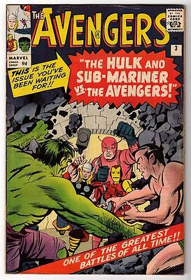 Marvel Comics FN 6.0 AVENGERS  #3  silver age iron man UK Hulk Mariner