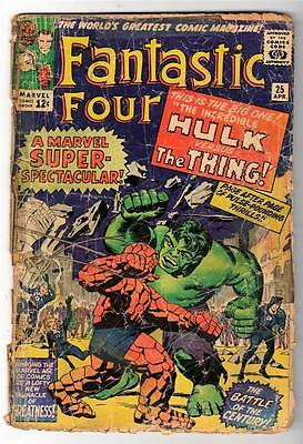 Marvel Comics G- 1.5  FANTASTIC FOUR  #25  HULK V Thing Battles