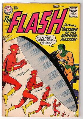 DC Comics  FN- 5.5 FLASH  #109  JLA  batman 1960  MIRROR MASTER RETURN