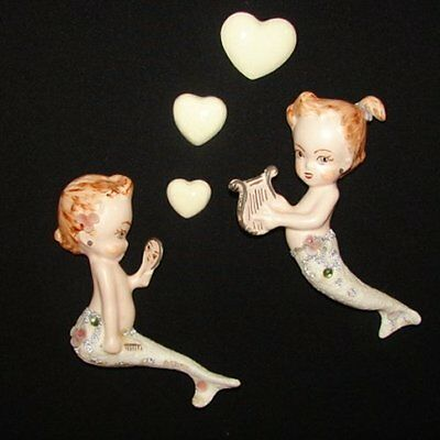 1950s Vintage Ceramic Mermaid Boy Girl w shells & Beads Wall Hanging Plaque