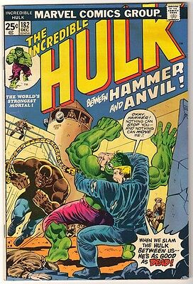 Marvel HULK Comics Vol 1 issue #182 1974 FN WOLVERINE Thor