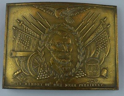 Vintage Brass A. Lincoln ''In Memory Of Our Dear President'' Belt Buckle RDL33