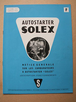 Ancienne Notice 1957 Carburateurs Autostarter Solex Automobile Garage