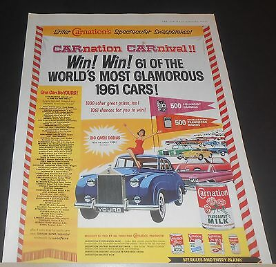 1960 Carnation Milk Sweepstakes Ad Win 1961 Cars Rolls Royce Silver Cloud + More