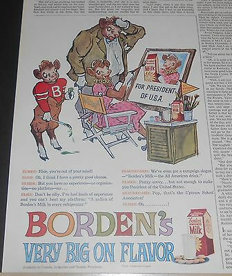 1960 Borden's Dairy Ad Elsie Cow For (Woman) President