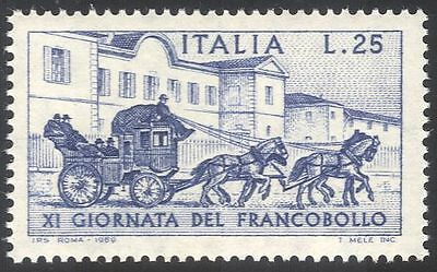 Italy 1969 Stamp Day/Horses/Stage Coach/Post/Mail/Transport/Animals 1v (n23540)