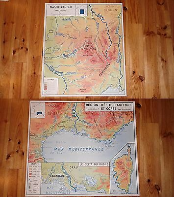 Carte Affiche Scolaire MDI Massif Central/Région Médit & Corse Carte Physique