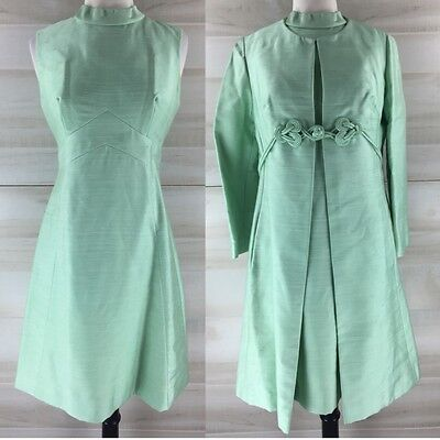 Vintage 50s 60s mod go go mint green silk mandarin dress and coat S M