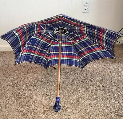 Vintage Plaid Red Green Yellow Umbrella Blue Lucite Handle Parasol Wood Shaft