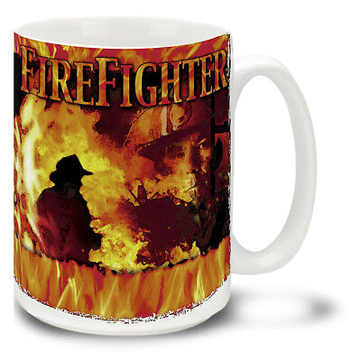 New Firefighter battling Flames 15 ounce Ceramic Mug Coffee Cup