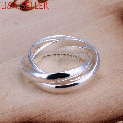 Men &Women's 925 Sterling Silver Triple Flexible Rolling Band Ring Z666 ALL SIZE