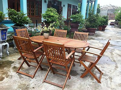 Garden Oval Table & 6 Chairs Wooden Patio Outdoor Dining Furniture Folding Set