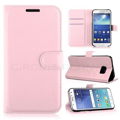 Luxury Samsung Galaxy S6 Leather Flip Case Wallet Free Tempered Glass Pink 03