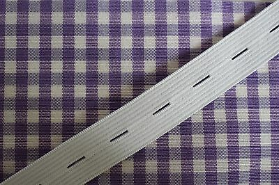 BUTTONHOLE ELASTIC 18mm Wide by the Metre or 5m Length Black or White