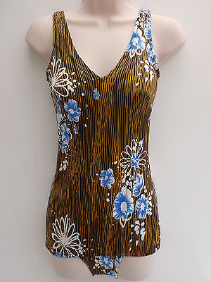Vintage Debenhams Brown & Blue Floral Print Swimsuit sz 14