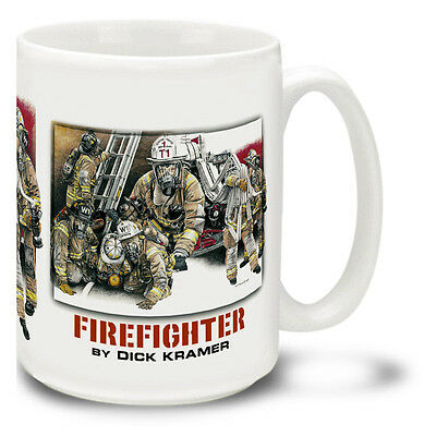 New Firefighter Montage by Dick Kramer 15 ounce Ceramic Mug Coffee Cup