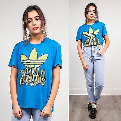 Adidas Blue Crew Neck Short Sleeve T-Shirt Top Oversize Originals Retro 10 12