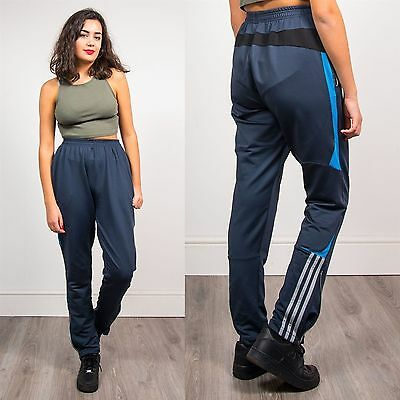 Adidas High Waist Tracksuit Bottoms Trousers Joggers Blue Three Stripe Casual 8
