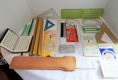 Lot of 23 Drafting Engineering Tools - Templates, Rulers, Charts, Slide Rule