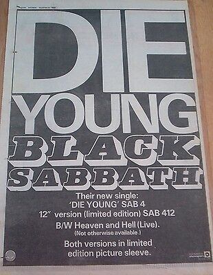 BLACK SABBATH Die Young 1980 UK Poster size Press ADVERT 16x12 inches