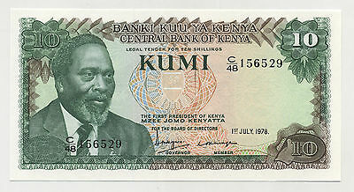 Kenya 10 Shillings 1-7-1978 Pick 16 UNC Uncirculated Banknote