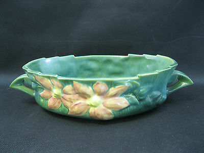 """VINTAGE ROSEVILLE POTTERY~Green CLEMATIS Pattern Console Bowl~458-10""""~Perfect"""