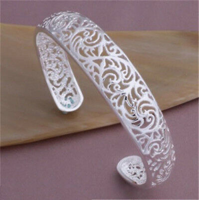 Hot Sale Classic 925STERLING SILVER flowers charm Bangle Bracelet NEW Free P&P