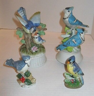 LOT OF 4 BLUE JAYS bird PORCELAIN FIGURINES & MUSIC BOXES