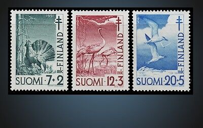1951 Finland Prevention Tuberculosis Birds  Scott B107 - B109 Never Hinged
