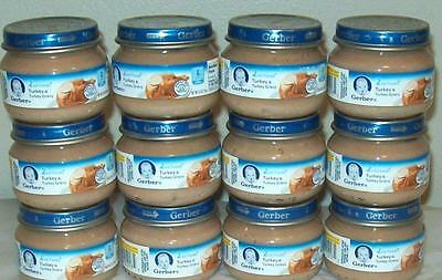 12 Jars GERBER Meat Baby 2nd Foods Turkey & Gravy 2.5 oz Puree