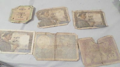 Lot Vintage Circulated Francs Paper Money