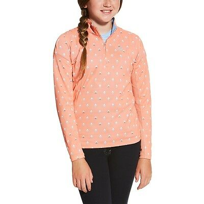 Ariat Girls Sunstopper Riding Sun Shirt - Childs/Kids - Peach Multi -Diff Sizes